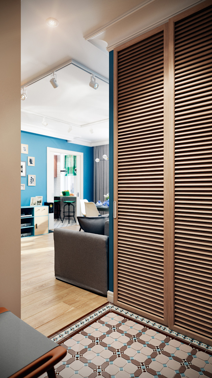 CO:interior Eclectic style corridor, hallway & stairs Beige