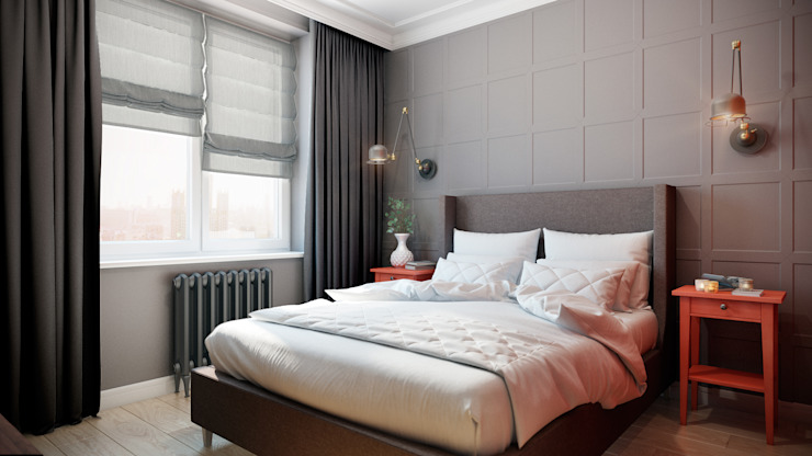 CO:interior Eclectic style bedroom Grey