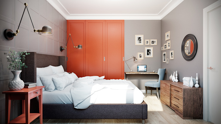 CO:interior Eclectic style bedroom Red