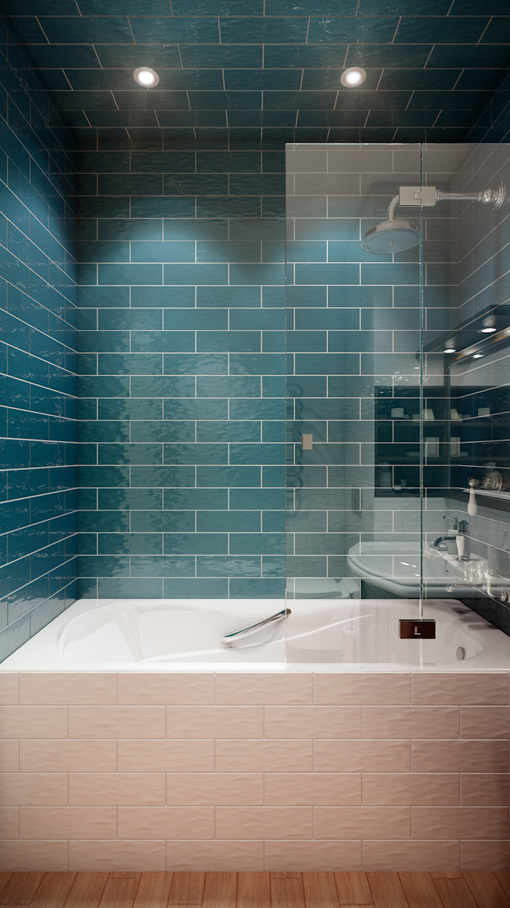 CO:interior Eclectic style bathroom Blue