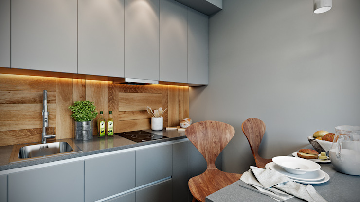 CO:interior Eclectic style kitchen Grey
