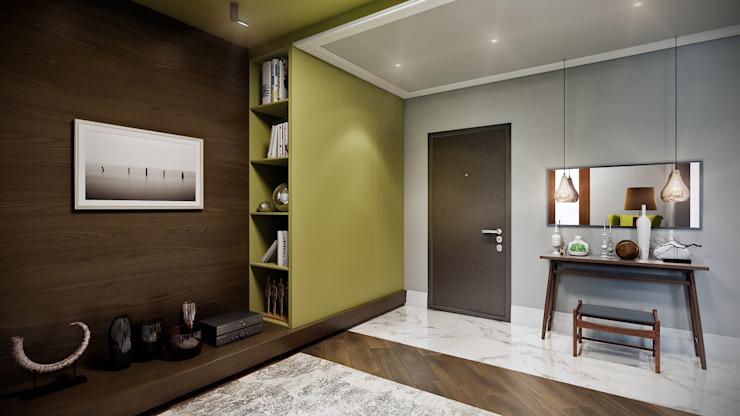 CO:interior Eclectic style corridor, hallway & stairs Grey