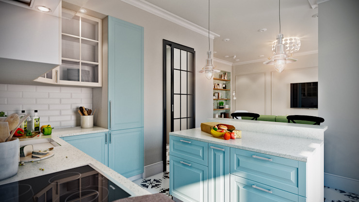 CO:interior Eclectic style kitchen Blue