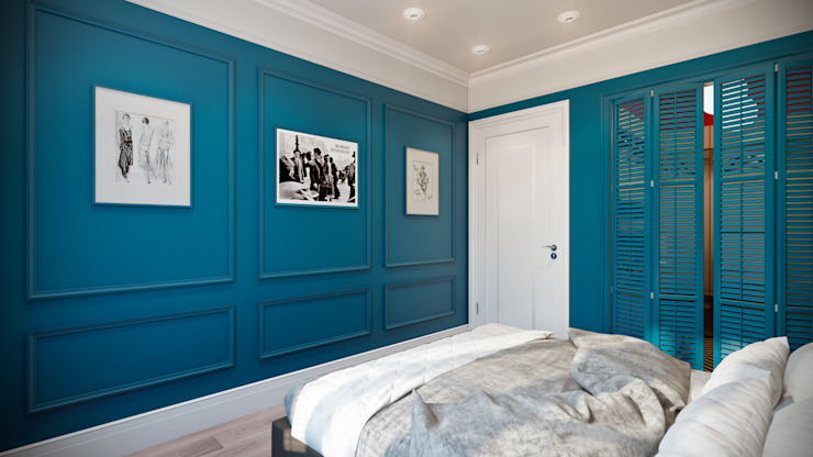 CO:interior Eclectic style bedroom Blue