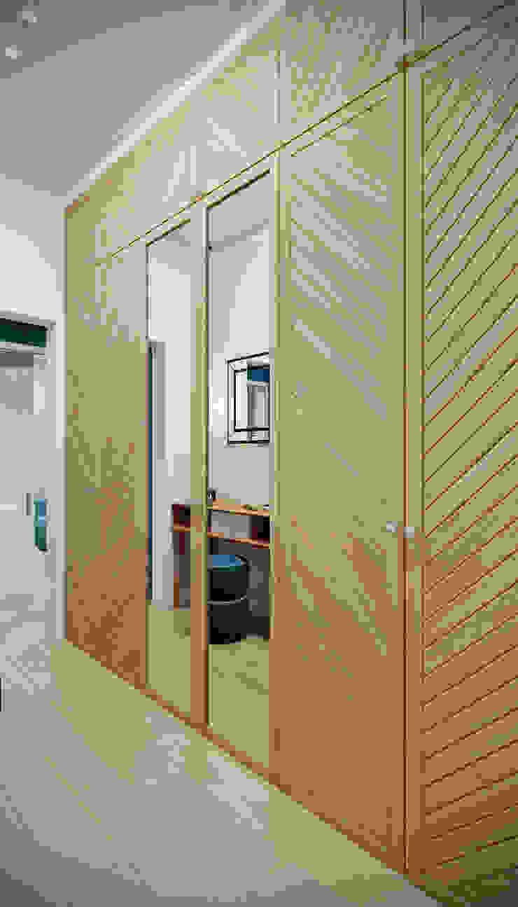 CO:interior Ingresso, Corridoio & Scale in stile eclettico Beige