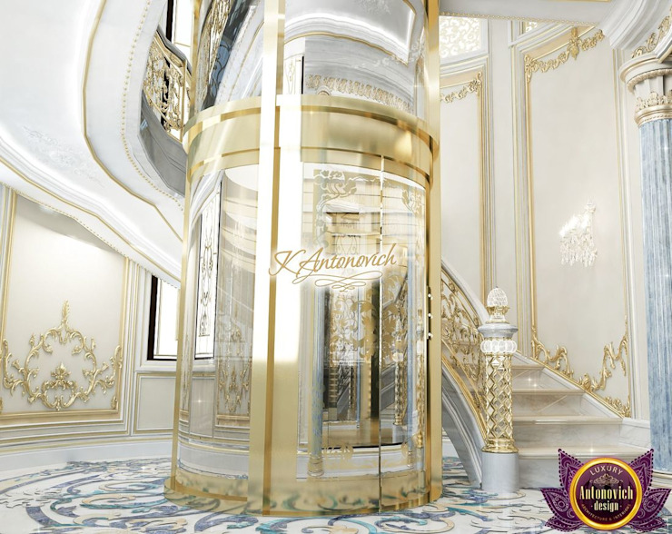 Architectural designs for homes by Katrina Antonovich Classic style corridor, hallway and stairs by Luxury Antonovich Design Classic