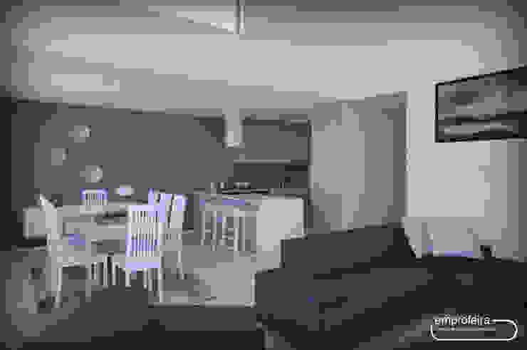 casa II_vista da sala comum II Salas de estar minimalistas por Emprofeira - empresa de projectos da Feira, Lda. Minimalista Madeira Acabamento em madeira