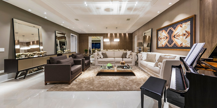 TRÍADE ARQUITETURA Living room Copper/Bronze/Brass Beige