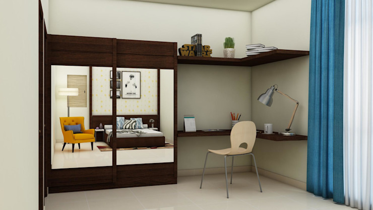 Wardrobe and Study table Modern style bedroom by homify Modern