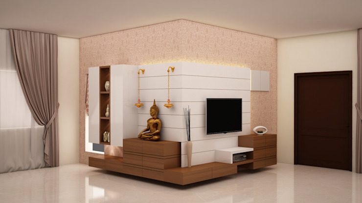 Flowing unit - TV, Puja and Crockery unit Modern living room by homify Modern