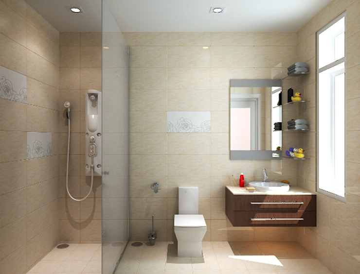 Các không gian mang tính kết nối giữa màu sắc và chi tiết trang trí.:  Phòng tắm by Công ty TNHH TK XD Song Phát