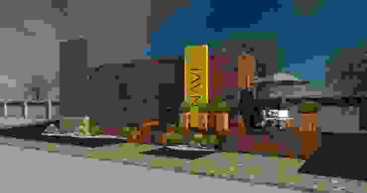 Fachada Caseta de ventas fraccionamiento residencial TALLER DE ARQUITECTURA 2A Oficinas y Tiendas Madera Acabado en madera