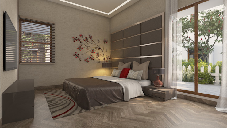 Bedroom Headboard and wall design Modern style bedroom by homify Modern