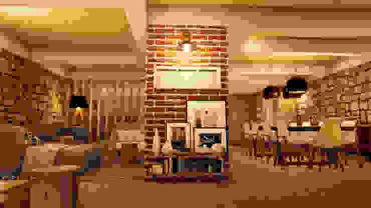 Salas de estilo industrial de ORMIGON ARCHI Industrial Madera Acabado en madera