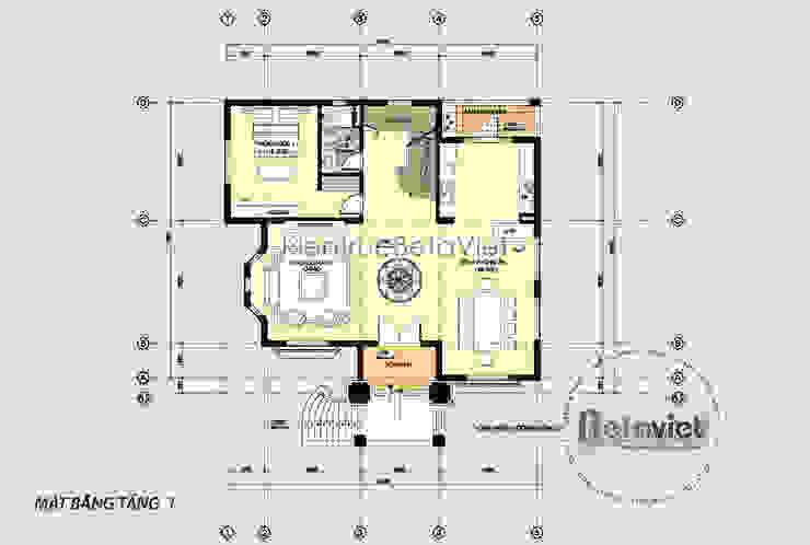 Mặt bằng tầng 1 biệt thự kiến trúc châu Âu tân cổ điển KT16105 bởi Công Ty CP Kiến Trúc và Xây Dựng Betaviet