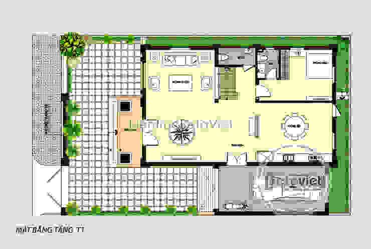 Mặt bằng tầng 1 biệt thự đẹp 3 tầng Tân cổ điển Pháp KT17047 bởi Công Ty CP Kiến Trúc và Xây Dựng Betaviet