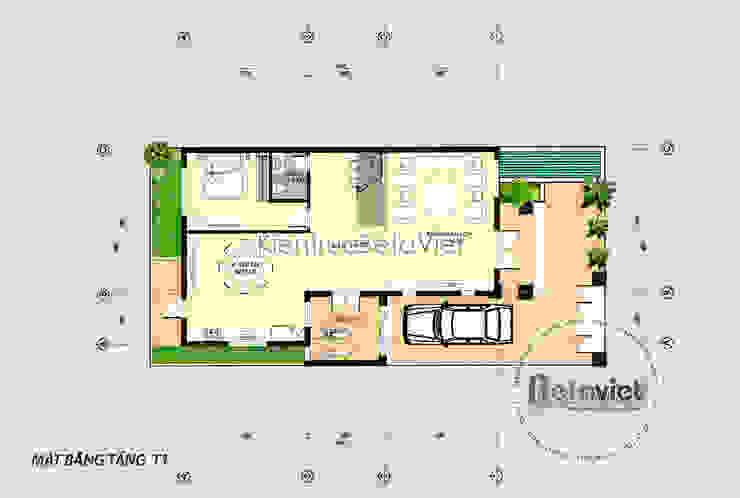 Mặt bằng tầng 1 biệt thự đẹp 3 tầng cổ điển KT17026 bởi Công Ty CP Kiến Trúc và Xây Dựng Betaviet