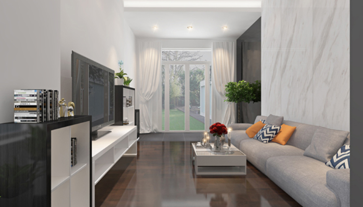 Thiết kế nội thất phòng khách bởi Công ty TNHH Xây Dựng TM – DV Song Phát Hiện đại