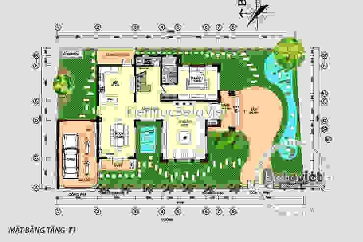 Mặt bằng tầng 1 Mẫu biệt thự hiện đại 2 tầng KT16140. bởi Công Ty CP Kiến Trúc và Xây Dựng Betaviet