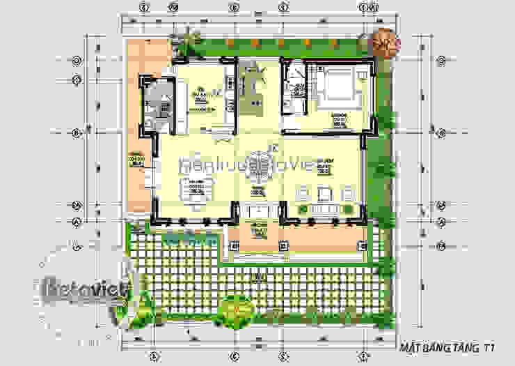Mặt bằng tầng 1 mẫu biệt thự đẹp 3 tầng Hiện đại KT16102 bởi Công Ty CP Kiến Trúc và Xây Dựng Betaviet