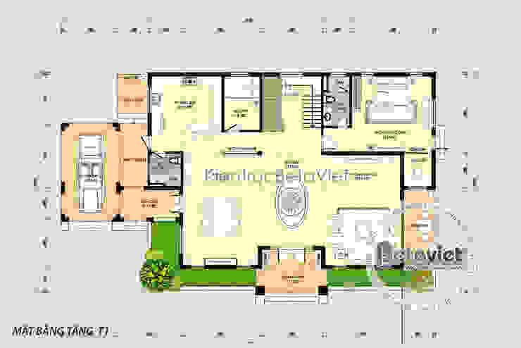 Mặt bằng tầng 1 mẫu biệt thự vườn 2 tầng hiện đại KT17032 bởi Công Ty CP Kiến Trúc và Xây Dựng Betaviet