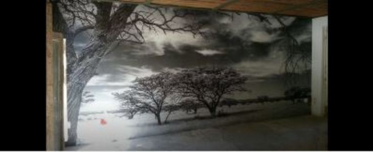 B & W Landscape photography printed onto wallpaper Modern Study Room and Home Office by Custom Art Framing (Pty) ltd Modern