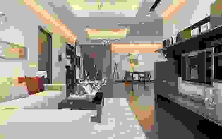 Những món đồ nội thất đơn giản hoặc đồ nội thất thông minh là giải pháp tối ưu. Phòng khách phong cách châu Á bởi Công ty TNHH TK XD Song Phát Châu Á Đồng / Đồng / Đồng thau