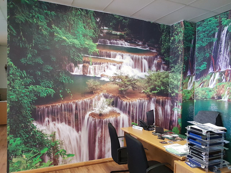 Printed wallpaper in motor dealership Modern Study Room and Home Office by Custom Art Framing (Pty) ltd Modern