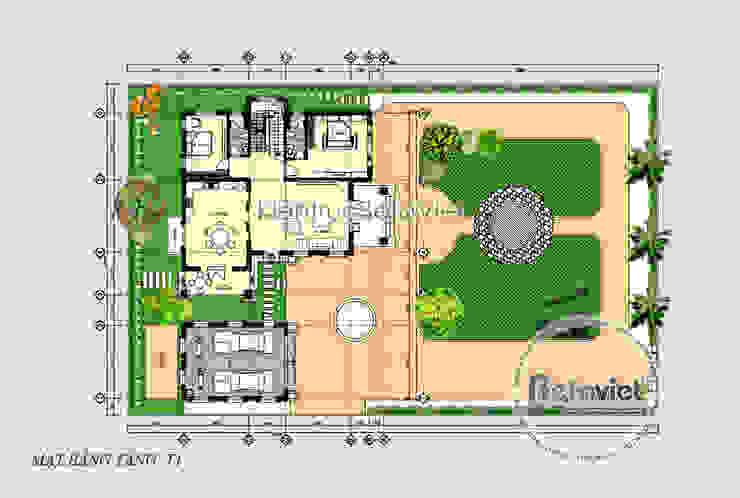 Mặt bằng tầng 1 mẫu biệt thự đẹp 2 tầng hiện đại KT17032 bởi Công Ty CP Kiến Trúc và Xây Dựng Betaviet