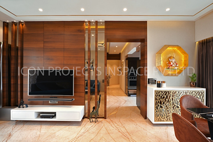 2Bhk Residence -1 Modern Living Room by icon projects inspace pvt ltd Modern