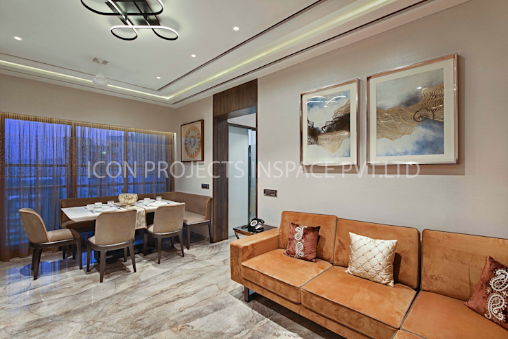 2BHK Residence Modern Dining Room by icon projects inspace pvt ltd Modern