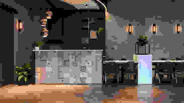 咖啡吧台 根據 見和空間設計 工業風 磁磚