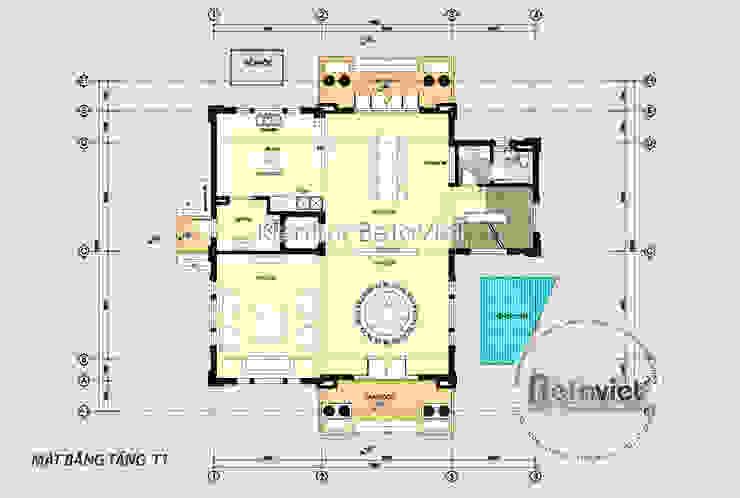 Mặt bằng tầng 1 mẫu thiết kế biệt thự Vinhomes Riverside KT17044 bởi Công Ty CP Kiến Trúc và Xây Dựng Betaviet