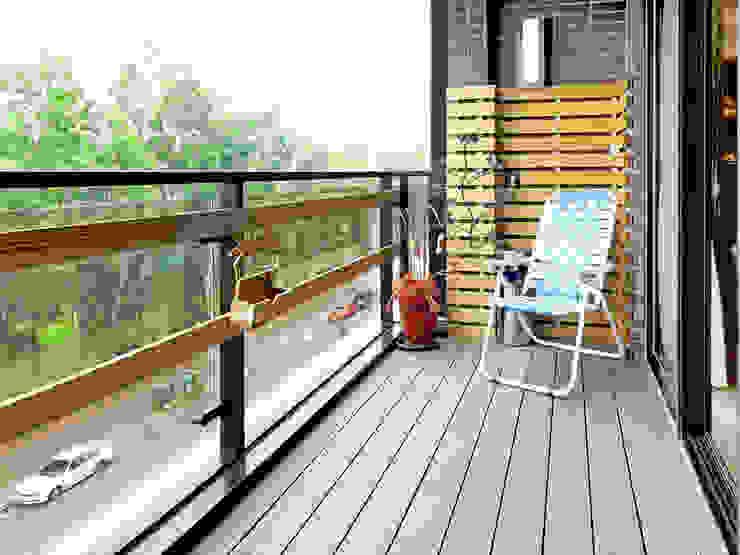 築室室內設計 Asian style balcony, veranda & terrace