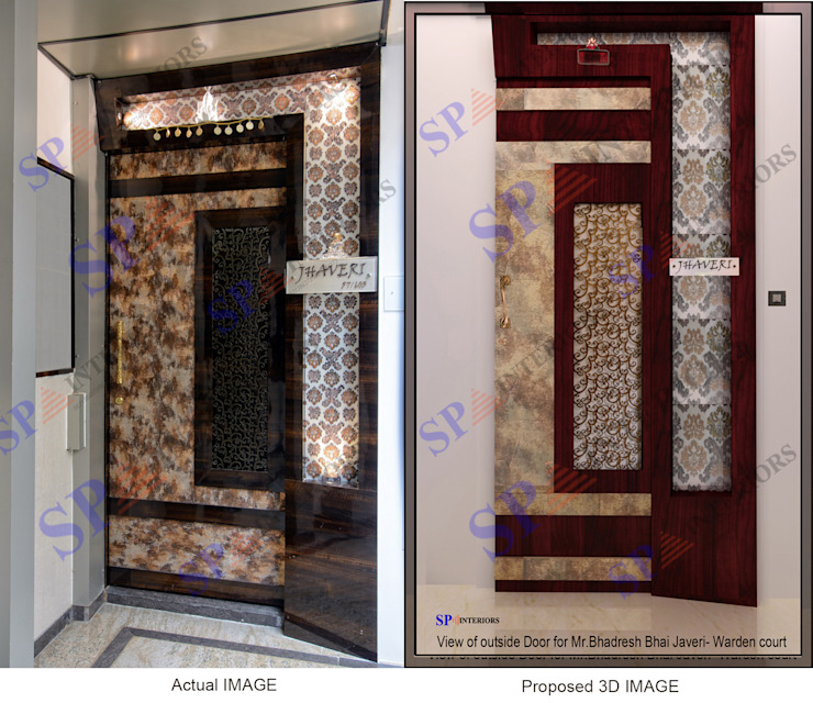 Actual image and Proposed 3d views Modern style doors by SP INTERIORS Modern