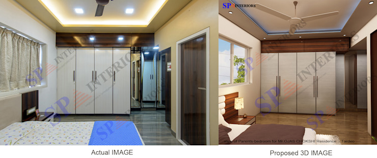 Actual image and Proposed 3d views Modern style bedroom by SP INTERIORS Modern