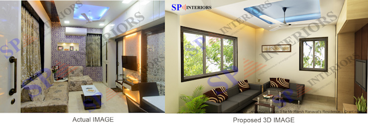 Actual image and Proposed 3d views Modern living room by SP INTERIORS Modern