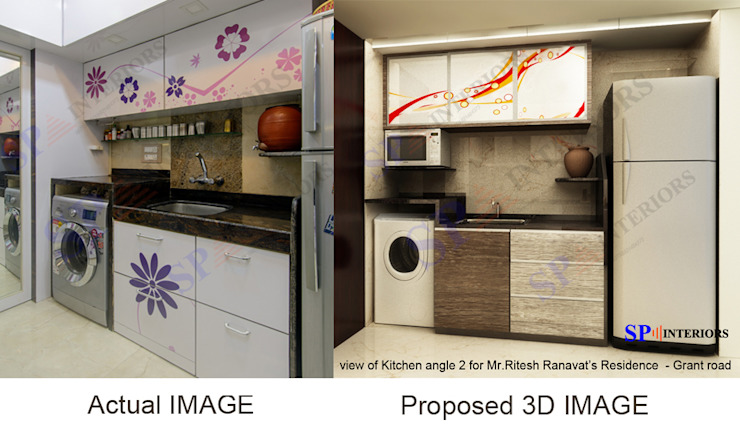 Actual image and Proposed 3d views Modern kitchen by SP INTERIORS Modern