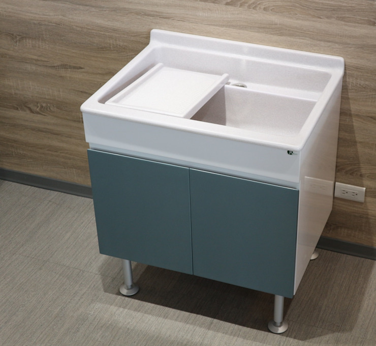 陽台洗衣槽櫃: 現代  by 綋宜實業有限公司, 現代風 塑木複合材料