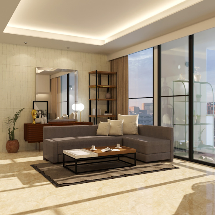 Living Room Ruang Keluarga Modern Oleh Noff Design Modern Kayu Wood effect