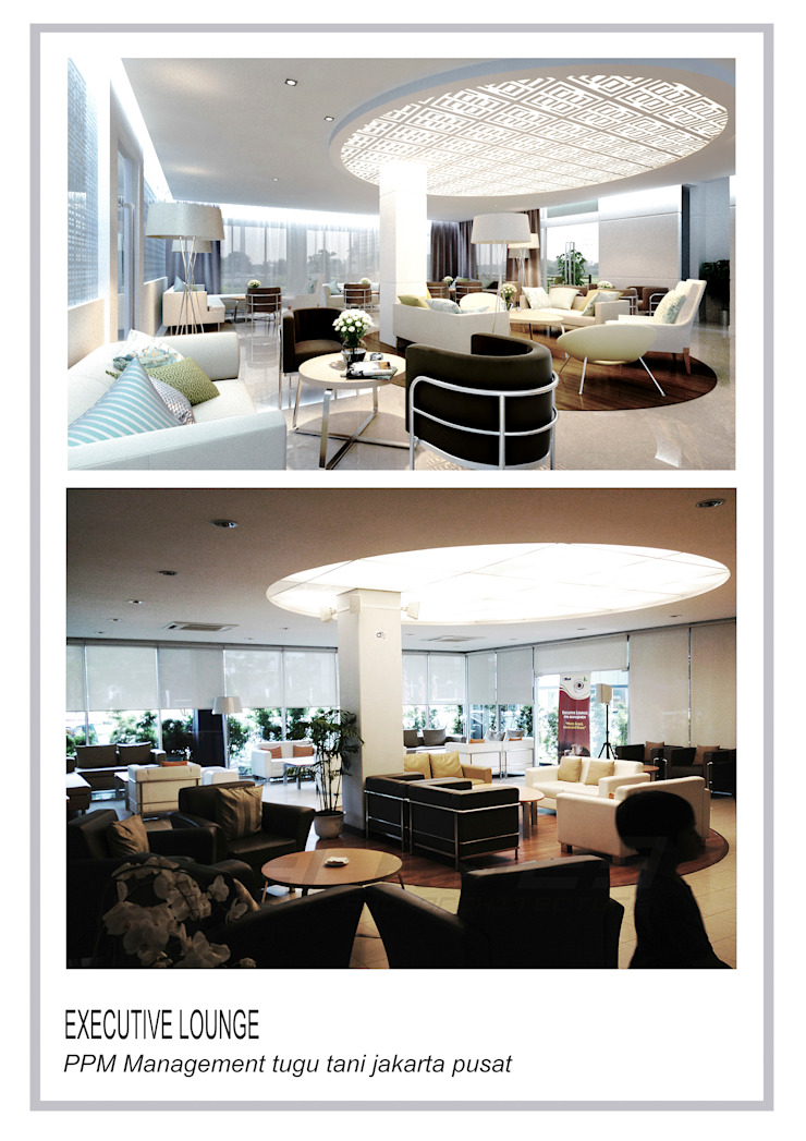 executive lounge ppm tugu tani Ruang Makan Modern Oleh TERAS23 Modern Granit