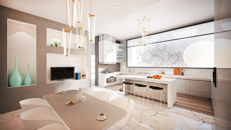 Kitchen:  Kitchen by Dessiner Interior Architectural,