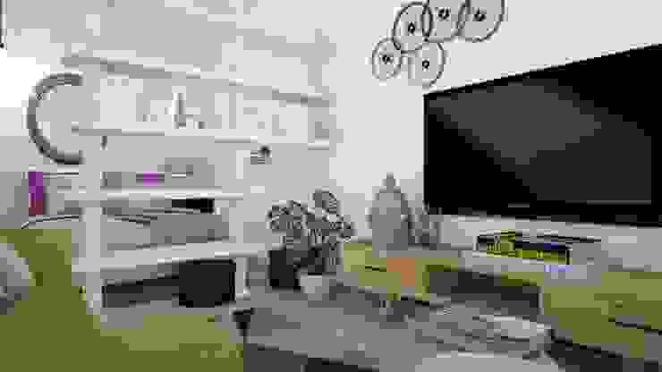 T0 em Oeiras Tezturas • Arquitectura e Decoração de Interiores Salas de estar modernas