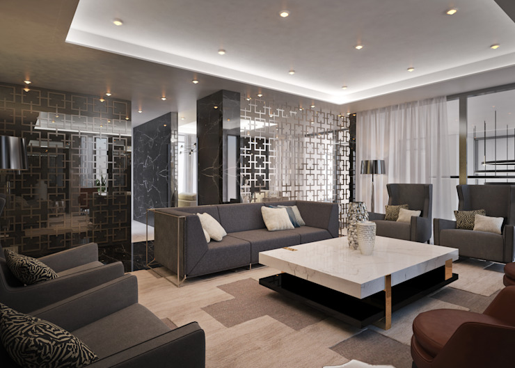 Modern Media Room by Dessiner Interior Architectural Modern