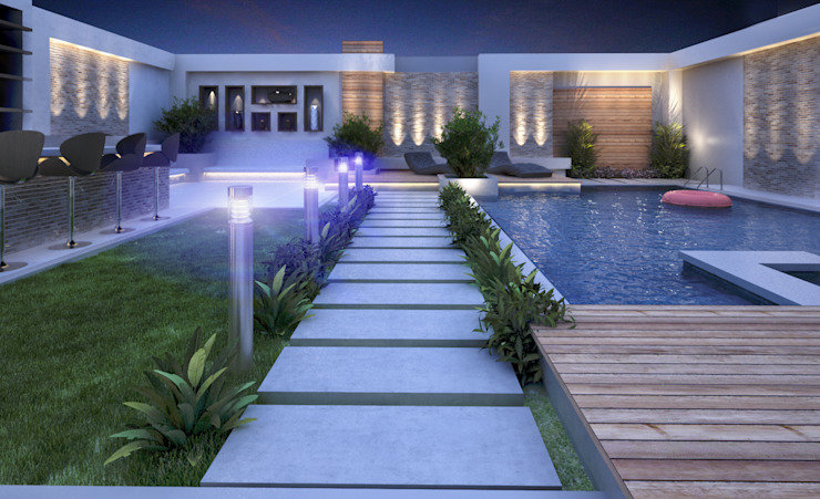Landscape Design for Private Villa by TK Designs Modern Marble