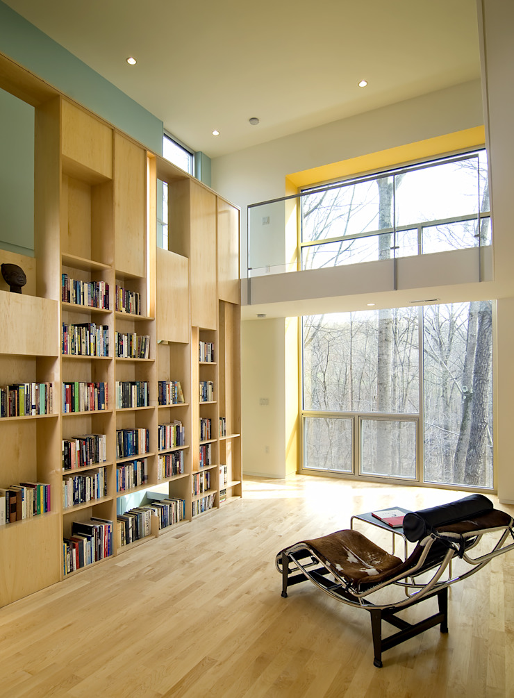 Forest House Modern Media Room by KUBE architecture Modern