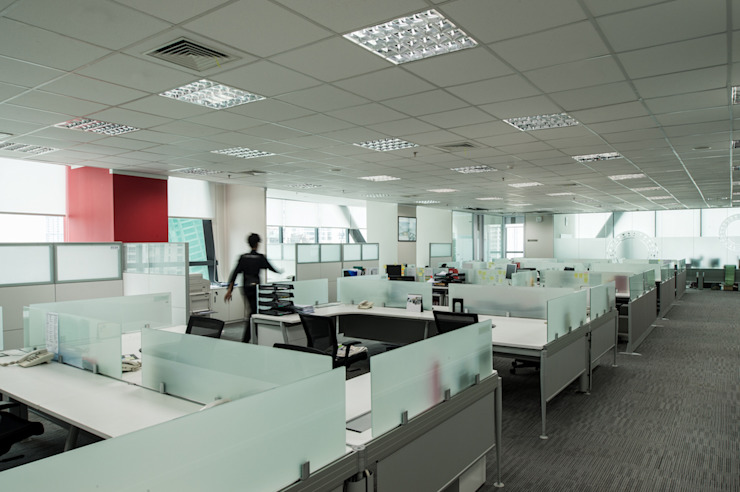 Workstation Area Bangunan Kantor Modern Oleh Asa Adiguna, PT Modern