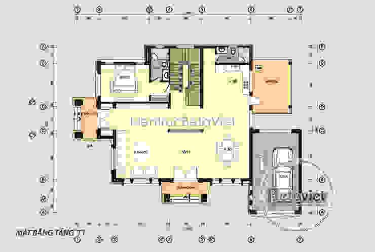 Mặt bằng tầng 1 mẫu biệt thự 2 tầng Hiện đại KT17049 bởi Công Ty CP Kiến Trúc và Xây Dựng Betaviet