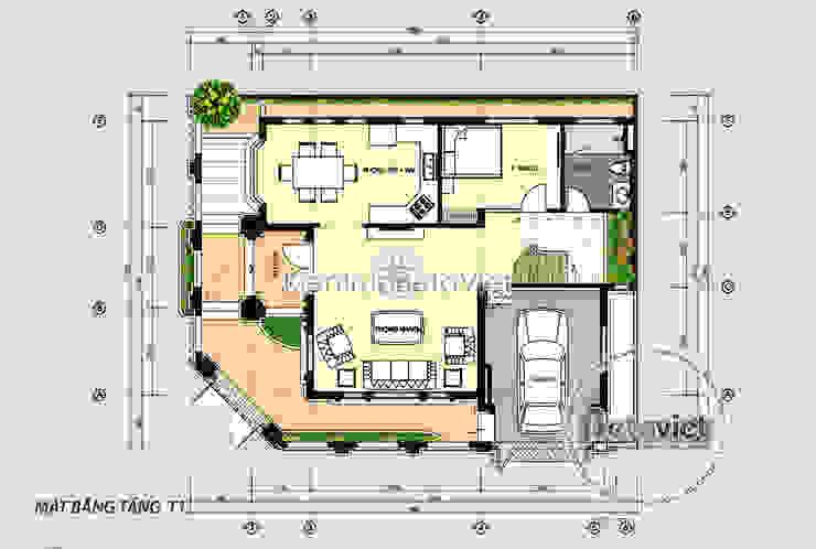 Mặt bằng tầng 1 mẫu biệt thự Tân cổ điển 3 tầng KT17078 bởi Công Ty CP Kiến Trúc và Xây Dựng Betaviet