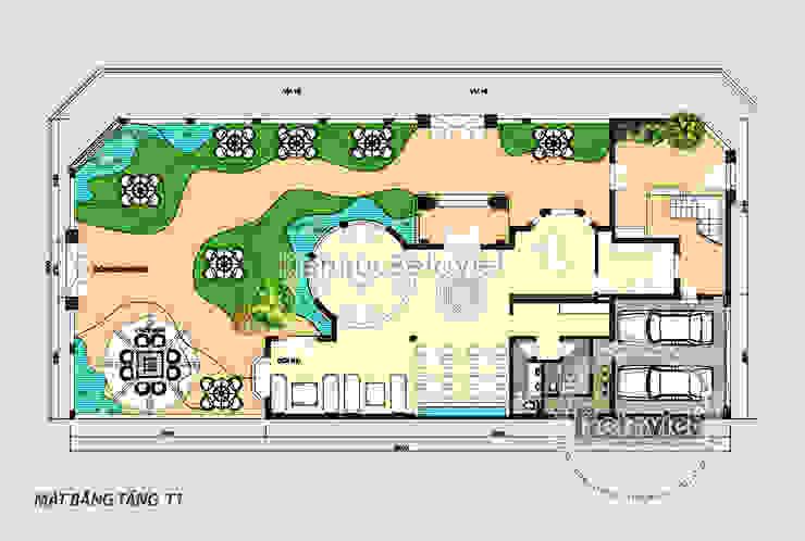 Mặt bằng tầng 1 biệt thự kiến trúc châu Âu Tân cổ điển 3 tầng KT17064 bởi Công Ty CP Kiến Trúc và Xây Dựng Betaviet